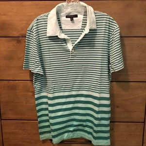 Green and White Striped Polo